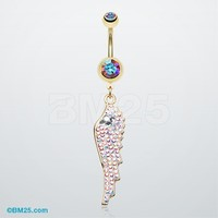 Golden Divine Angelic Wing Belly Button Ring