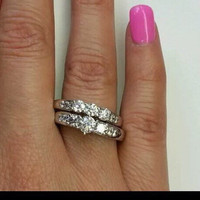 14k engagement ring and wedding band