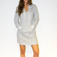 Surfer Gal Striped Hoodie Dress