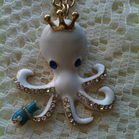white Octopus pendant  necklace with golden by Victorianstudio