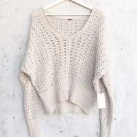 Free People Best Of You V Neck Sweater in Neutral