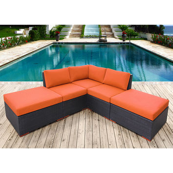 Coral Gables 5 Piece Modular Corner Patio Sectional Multiple Colors