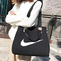 NIKE Fashion New Hook Print Shopping Leisure Shoulder Bag Handbag Women Black