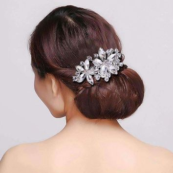 Pretty Petals Crystal Flowers Silver Plated Hair Comb