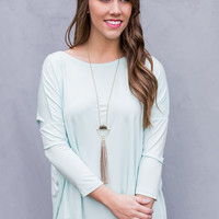 3/4 Sleeve Round Neck Piko Top in Mint
