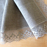 "Linen Tablecloth Burlap Checked Square Prewashed Natural Gray Linen Lace 60"" x 60"""