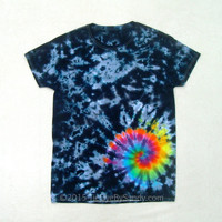 Medium Tie Dye Shirt- Black and Grey Rainbow Galaxy