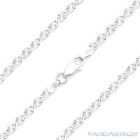 Italy .925 Sterling Silver Rhodium Plated Valentino Link Italian Chain Necklace