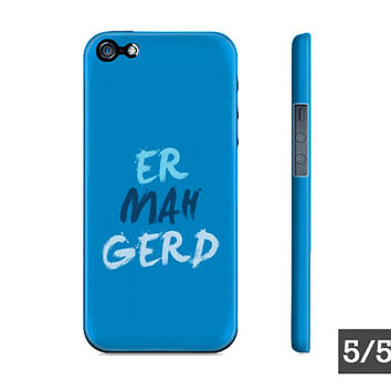Ermahgerd Internet Meme Blue Apple iPhone Hard Case - iPhone 5 5S 4 4S Case - Also Available For Samsung Galaxy S5 S4 S3
