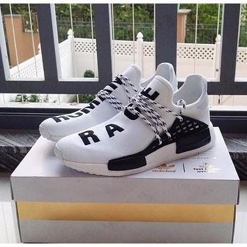 Pharrell Williams x Adidas Consortium NMD Human Race White Sport Running Shoes Classic Casual Shoes Sneakers