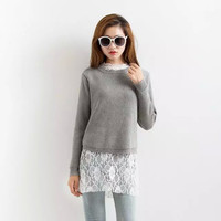 Gray Knitted Sweater + White Lace Shirt