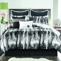 Sunset and Vine Woodland 8-Piece Full Comforter Set, Black/White