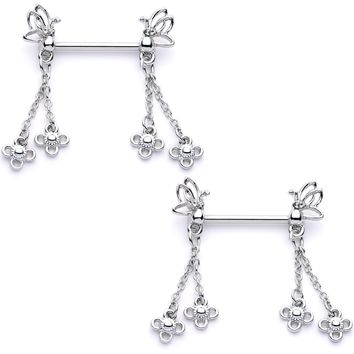 "9/16"" Clear Gem Butterfly Dangle Barbell Nipple Ring Set"