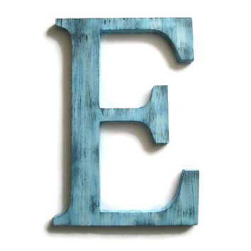 Decorative Letter E hand painted wood in light blue with grey distressed finish, rustic shabby vintage farm house style
