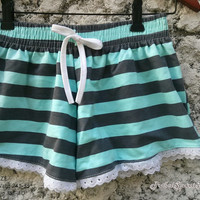 Cute Lace Trimmed Shorts striped Blue Colorful Print Low Rise For Beach Summer Cloth Clothing Comfy For Girl Women Wear with Tank Top
