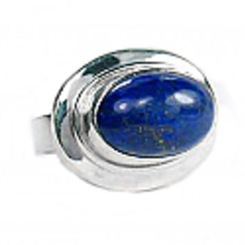 Sterling Silver and Framed Oval Lapis Lazuli Cabochon Ring