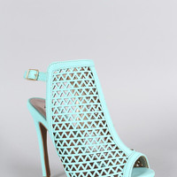 Qupid Laser Cutout Slingback Heel Color: Mint, Size: 6.5