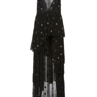 Asymmetrical Deep V Beaded Long Dress | Moda Operandi