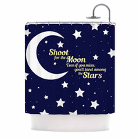"""NL Designs """"Moon And Stars Quote"""" Blue White Shower Curtain"""