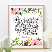 Nursery Bible verse print decor She is clothed in strength and dignity Proverbs 31:25 Scripture nursery Christian wall art Betterfly Whisper