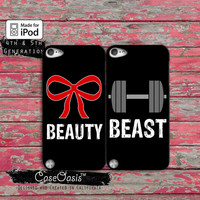 Beauty Beast Pair Matching Case Bow Gym Weights Custom Case iPod Touch 4th Generation or iPod Touch 5th Generation Rubber or Plastic Case