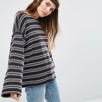 ASOS Top in Oversized Boxy Fit in Textured Stripe at asos.com