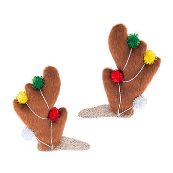 Furry Reindeer Antlers with Ornaments Hair Clips