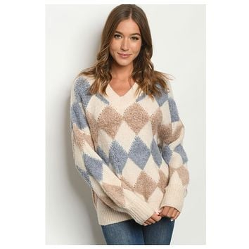 BLACK FRIDAY SPECIAL! Thick Oatmeal Blue Angora Sweater