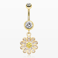 zzz-Golden Flower Sparkle Belly Button Ring