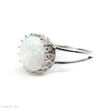 Sterling Silver Round White Opal Crown Ring