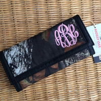 Monogrammed Mossy Oak Camo Trifold Wallet  Font shown MASTER CIRCLE in pink