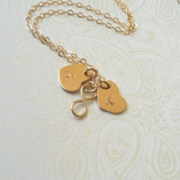 Gold Infinity Necklace with Personalized Gold Heart Charms-Gift for Best Friend, Gift for Sister