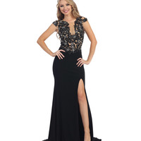 Black & Nude Beaded Sheer Slit Dress 2015 Prom Dresses