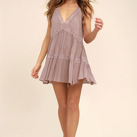 Free People Look Of Love Mauve Lace Slip
