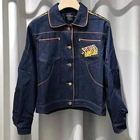 FENDI High Quality Hot Sale Women Men Personality Denim Cardigan Jacket Coat