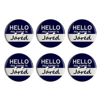Jared Hello My Name Is Plastic Resin Button Set of 6