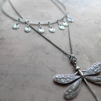 Romantic moonstone dragonfly necklace / genuine moonstone, oxidized sterling silver plated brass, ornate filigree