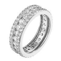 Sterling Silver Channel Set Round Cut Eternity Band Ring Simulated Diamond Women