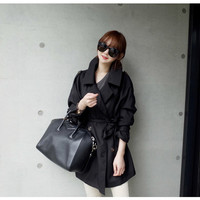 Black Double Breasted Lapel Coat