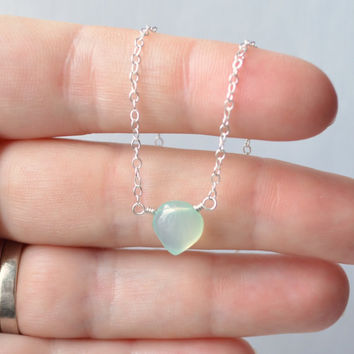 NEW Aqua Choker, Sterling Silver Necklace, Simple Chalcedony Gemstone Jewelry, Pale Pastel Blue Green, Free Shipping