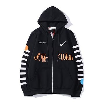 OFF-Whitex Nike's new top '33' letter yellow and blue circular pattern Men's and women's zipper hoodie