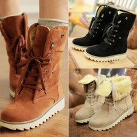 New Fashion Women Lady Girl boots comfort shoes flats Lace-up round toes Ankle Winter Warm High heels Plus Size UK 2-10 = 1945918852