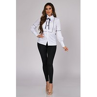 Katherine Long Sleeve Button Down Shirt with Neck Tie