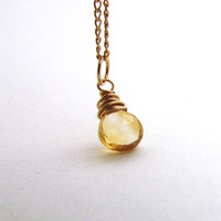 Citrine necklace, November birthstone necklace, wire wrapped citrine pendant, golden yellow gemstone, gold filled