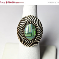 ON SALE Vintage CAROLYN Pollack Relios 925 Silver Inlaid Mosaic Ring, Blue & Green, Gemstone, Swirled, Size 7, Stunning!  #B015
