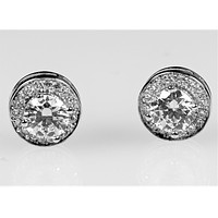 Walda Round Halo Stud Earrings | 2ct