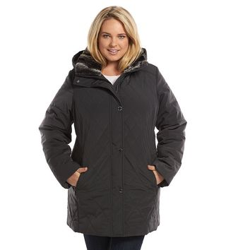 Croft & Barrow Hooded Quilted Stadium Jacket - Women's Plus Size (Grey)