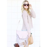 Blush Fringe Bag