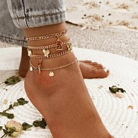 Fashion Casual 4pcs Heart Charm Anklet
