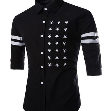 Men's Half Sleeve Black Shirt Slimming with Five-Point Star Stripe Print